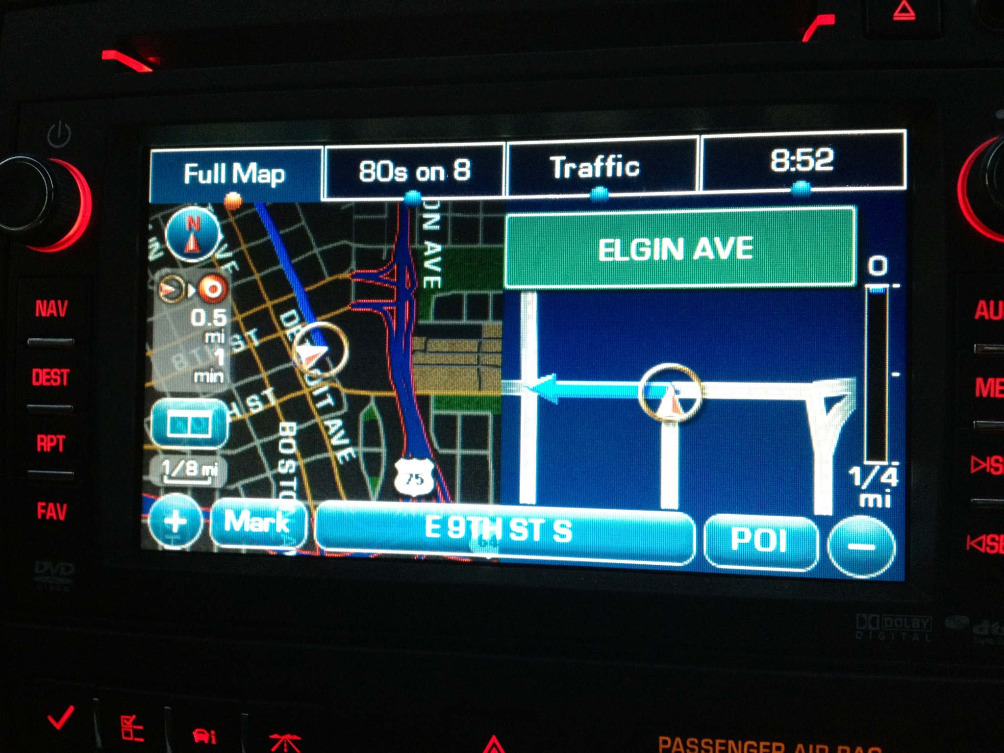 Clear and easy to understand navigation in the gmc acadia denali