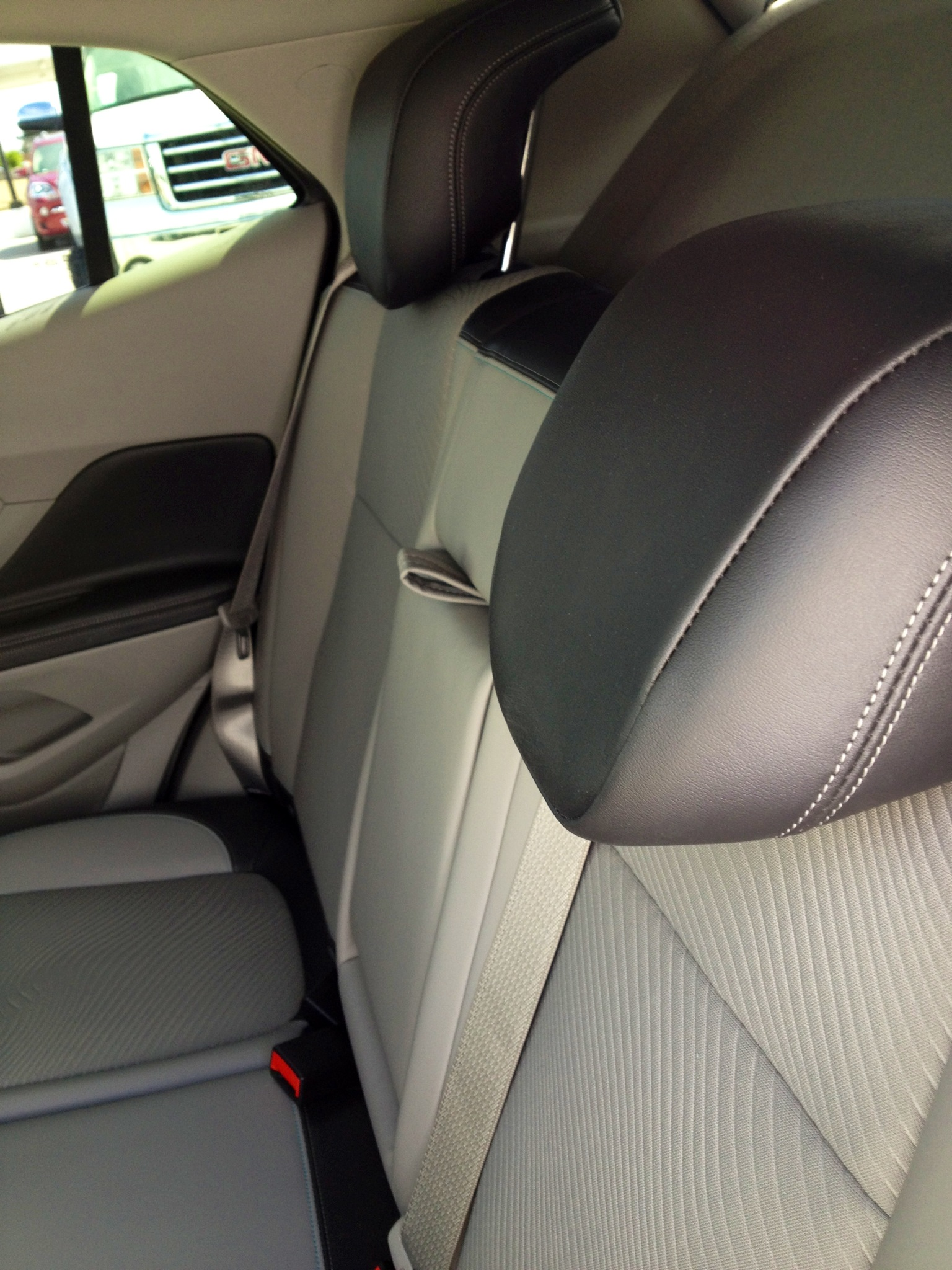 buick encore back seat. leather detail and stitching on buick encore back seats seat e